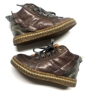 ea4a3830a26 Ocra Italian Brown Leather Kids Wing Shoes 6